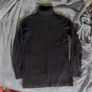 French Connection Black Turtleneck Tunic Sweater L